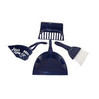 Litter scoop, broom, holder, and dustpan in one useful product.
