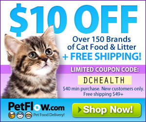 Sign up for $10 off the awesome PetFlow service and have your favorite cat food conveniently shipped straight to your home.